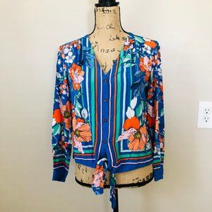 Anthropologie Maeve Button Down Tie Front Blouse